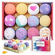 Homasy Bath Bombs, 12 Pcs Bath Bomb Gift Set with Natural Essential Oils, Shea Butter, Sea Salt, SPA Bubble Fizzies f...