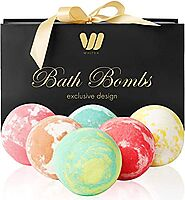 6 Organic & Natural Bath Bombs, Handmade Bubble Bath Bomb Gift Set, Rich in Essential Oil, Shea Butter, Coconut Oil, ...
