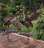 Heron Bird Art Metal Statue Garden Decor