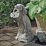 Dog with Basket Outdoor Garden Statue