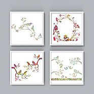 Bird Wall Art Set 4 Piece - Set of 4 Bird Prints II - Four Watercolor Birds - Set of Bird Prints - Bird Poster - Wall...