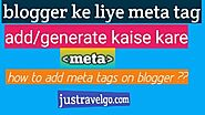Blogger Me Html Meta Tags Kaise Use Kare?