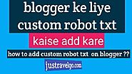 Custom Robots Txt Blogger In Hindi