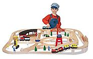 Melissa & Doug Children's Wooden Railway Set (Ages 3-10)