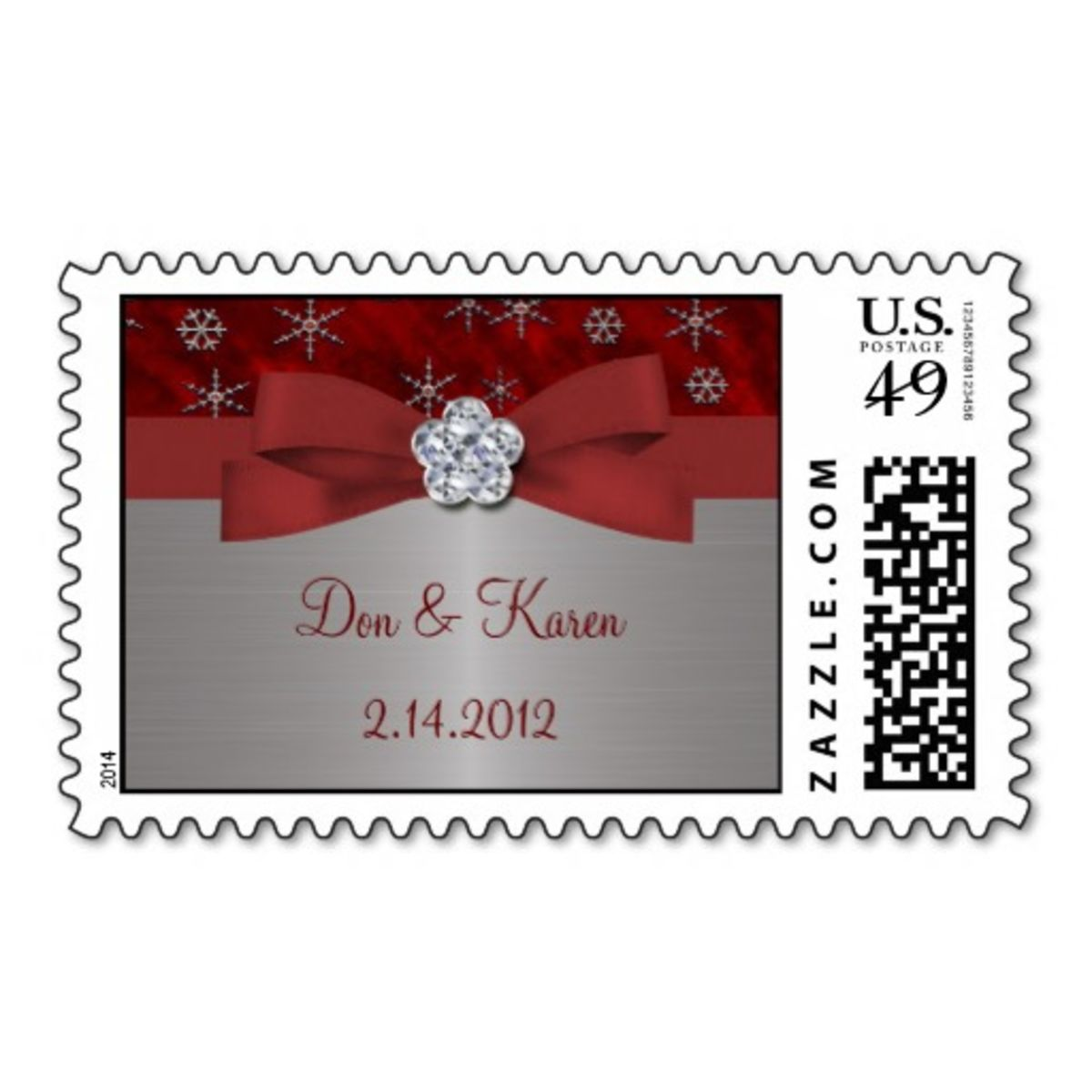 Headline for Elegant Wedding Christmas Postage Stamps 2014