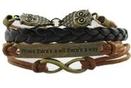 Infinite 8 Bracelet Vintage Bronze Owls Handmade Coffee Rope Leather Knit Bangle