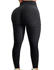 Womens High Waisted Yoga Pants Tummy Control Scrunched Booty Leggings Workout Running Butt Lift Textured Tights