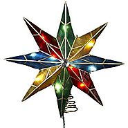 Kurt Adler 14-Inch 8-Point Star with Center Gem Treetop