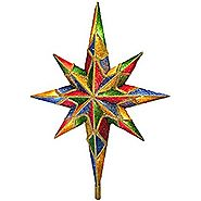 "11"" Lighted Mosaic Glitter Bethlehem Star Christmas Tree Topper - Clear Lights"