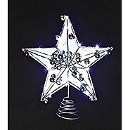 "15"" LED Lighted Battery Operated Mirrored Star Christmas Tree Topper with Timer"