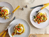 Potato Cakes with Fried Eggs and Turkey-Red Pepper Hash Recipe