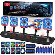 Lehoo Castle Electronic Shooting Target for Nerf Gun, 5 Targets Multi-Modes Digital Scoring Auto Reset with 20 Foam D...