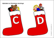 Alphabet on Christmas stockings - capitals (SB6191) - SparkleBox