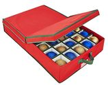 Simplify Under The Bed 40 Ornament Storage Box With Adjustable Dividers, Holiday Red, Heavy Duty 600 Denier Polyester