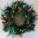 Pre-Lit Weather Proof Battery Operated LED Wreath With Timer Twinkle/Solid Multi-Color