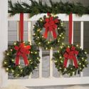 Brylanehome Set Of 3 Cordless Pre-Lit Mini Christmas Wreaths