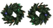 BETHLEHEM 16-Inch Wreath With Multi-Color LED Lights (2-Pack)