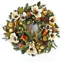"Cream / Gold 30"" Pre-Lit LED Decorated Wreath"