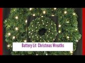 Battery Lit Christmas Wreaths, These pre-lit Christmas wreaths and garlands