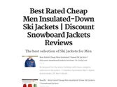 Best Rated Cheap Men Insulated-Down Ski Jackets | Discount Snowboard Jackets Reviews