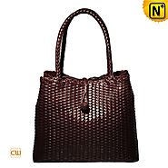 Cwmalls Womens Woven Leather Shoulder Tote Bag CW255168