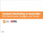 Content Marketing in Australia: 2013 Benchmarks, Budgets, and Trends