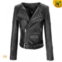 Women Black Leather Motorcycle Jacket CW608119 - cwmalls.com