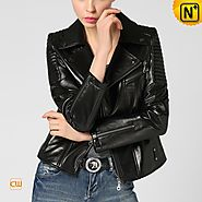 CWMALLS Black Leather Zip Jacket CW650016