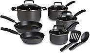 T-fal D913SC Signature Hard Anodized Nonstick Thermo-Spot Heat Indicator Cookware Set, 12-Piece, Gray