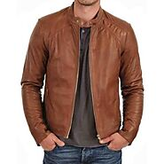 Branded Light Brown Leather Jacket Mens