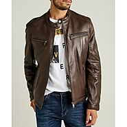 Classic Sporty Slim Fit Brown Leather Jacket for Men