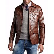 Men's Genuine soft Lambskin Leather Brown Shirt