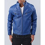 Mens Designer Soft Lambskin Blue Leather Jacket
