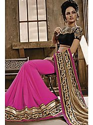 VINTAGE FLAVOUR 9013:- Pink Skirt Saree With Borders On Black Dupion And Pallu In Jacquard Smoke Pallu. Blouse In Bla...
