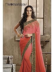VINTAGE FLAVOUR 9015:- All Over Georgett Saree In Orange Shading With Jacquard Borders On Green Dupion .Blouse In Got...