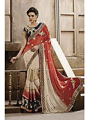 VINTAGE FLAVOUR 9019:- Multi Panel Skirt In Jacquard,Georgette Shaded Pallu With Navy Dupion Border & Butis All Over ...