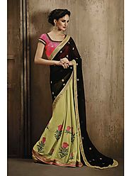 VINTAGE FLAVOUR 9020:- Green Georgette Saree With Skirt In Multi Colou Threadwork And Pallu In Black Georgette.Blouse...