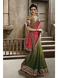 VINTAGE FLAVOUR 9021:- Get Yourself Dressed in This Self Jacquard olive Shaded Saree With Pallu In Red Chiffon,Embroi...