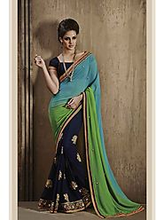 VINTAGE FLAVOUR 9023:- All Over Butta In Skirt Area Is The Centre Highlight Of This Navy Blue Georgette Saree With Pa...