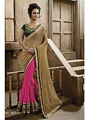 VINTAGE FLAVOUR 9027:- Georgette Saree In Pink Colour With Pallu In Beige Foil Pattern Georgette.Blouse In Black Dupi...