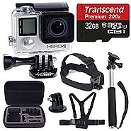 GoPro HERO4 SILVER Edition Camera HD Camcorder With Deluxe Carrying Case + Head Strap + Chest Strap + Monopod + 32GB ...