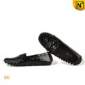 Women Black Leather Loafers Shoes CW300600 - cwmalls.com