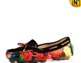 Printed Leather Flat Shoes for Women CW300567 - cwmalls.com