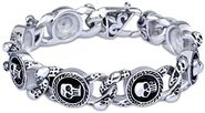 Cloris Men's Skull Head Stainless Steel Link Bracelet Biker Look