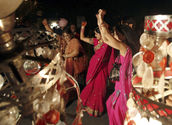 Michelle joining an Indian Wedding Party and doing the 'Bhangra'