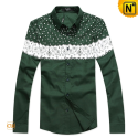 Fitted Long Sleeve Shirt Green CW130026 - cwmalls.com