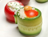 Stuffed Tomatoes & Cucumber Wraps