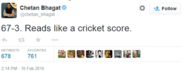 This tweet from Chetan Bhagat