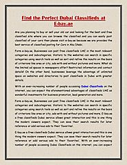 Find the Perfect Dubai Classifieds at E-bay.ae