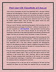 Post your UAE Classifieds at E-bay.ae
